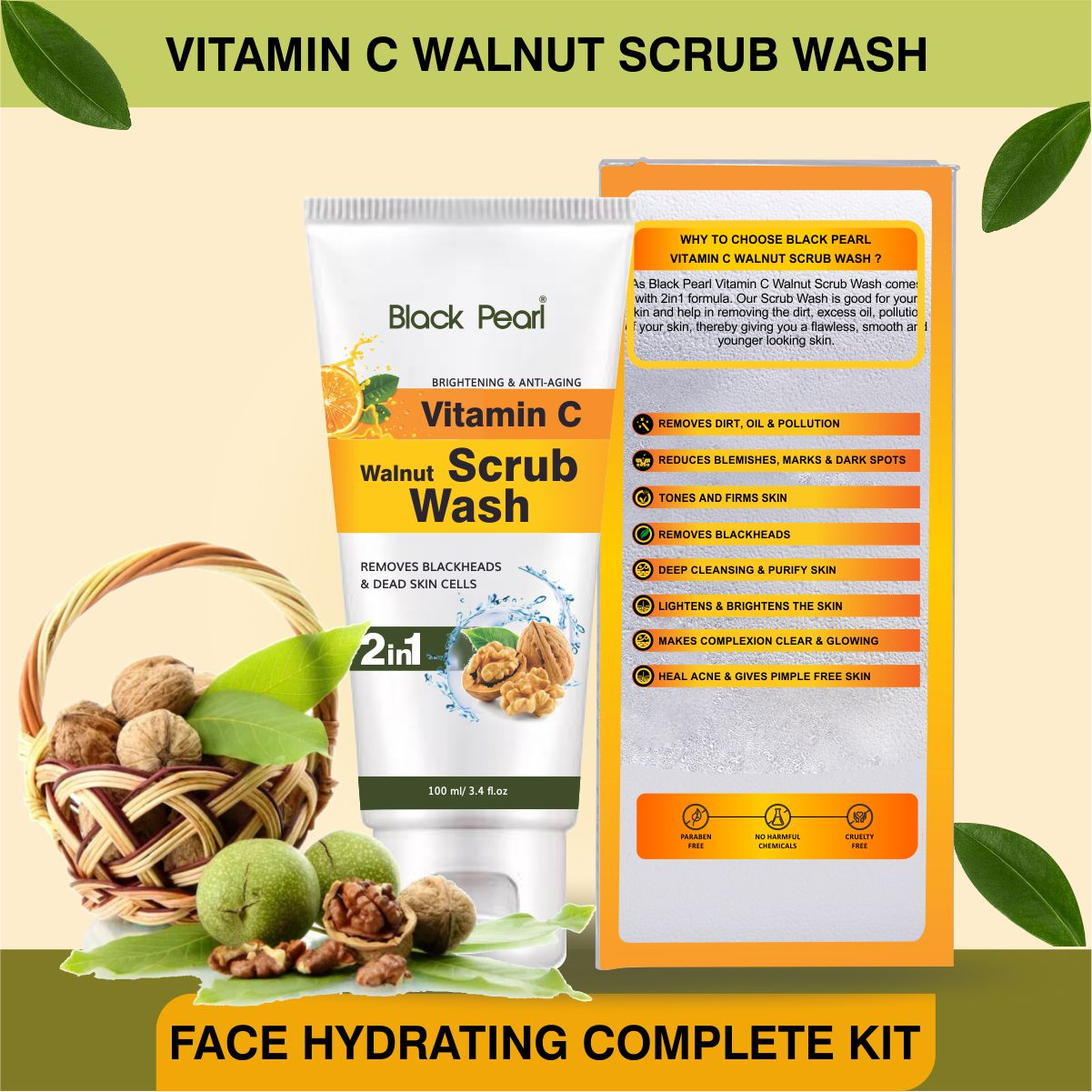 Face Hydrating Complete Kit Vitamin C Walnut Scrub Wash